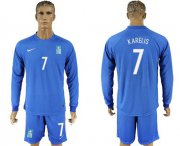 Wholesale Cheap Greece #7 Karelis Away Long Sleeves Soccer Country Jersey
