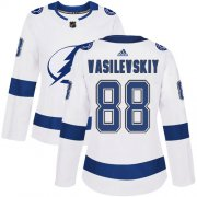 Cheap Adidas Lightning #88 Andrei Vasilevskiy White Road Authentic Women's Stitched NHL Jersey