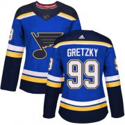 Wholesale Cheap Adidas Blues #99 Wayne Gretzky Blue Home Authentic Women's Stitched NHL Jersey