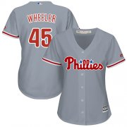Wholesale Cheap Phillies #45 Zack Wheeler Grey Road Women's Stitched MLB Jersey