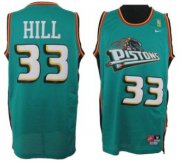 Wholesale Cheap Detroit Pistons #33 Grant Hill Green Swingman Throwback Jersey