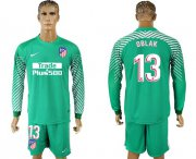 Wholesale Cheap Atletico Madrid #13 Oblak Green Goalkeeper Long Sleeves Soccer Club Jersey