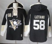 Wholesale Cheap Penguins #58 Kris Letang Black Pullover Hoodie Stitched NHL Jersey
