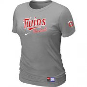 Wholesale Cheap Women's Minnesota Twins Nike Short Sleeve Practice MLB T-Shirt Light Grey