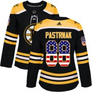 Wholesale Cheap Adidas Bruins #88 David Pastrnak Black Home Authentic USA Flag Women's Stitched NHL Jersey