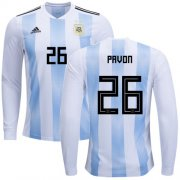 Wholesale Cheap Argentina #26 Pavon Home Long Sleeves Soccer Country Jersey