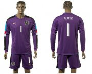 Wholesale Cheap Austria #1 Almer Purple Goalkeeper Long Sleeves Soccer Country Jersey