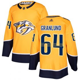 Wholesale Cheap Adidas Predators #64 Mikael Granlund Yellow Home Authentic Stitched NHL Jersey