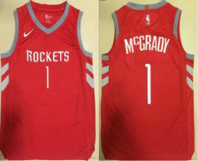 Wholesale Cheap Men\'s Houston Rockets #1 Tracy McGrady New Red 2017-2018 Nike Authentic Printed NBA Jersey