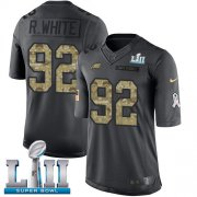 Wholesale Cheap Nike Eagles #92 Reggie White Black Super Bowl LII Men's Stitched NFL Limited 2016 Salute To Service Jersey