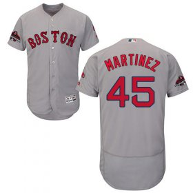 Wholesale Cheap Red Sox #45 Pedro Martinez Grey Flexbase Authentic Collection 2018 World Series Stitched MLB Jersey