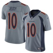Wholesale Cheap Nike Broncos #10 Jerry Jeudy Gray Men's Stitched NFL Limited Inverted Legend Jersey