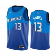 Wholesale Cheap Nike Bucks #13 Jordan Nwora Blue NBA Swingman 2020-21 City Edition Jersey