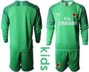 Wholesale Cheap AC Milan Blank Green Goalkeeper Long Sleeves Kid Soccer Club Jersey