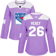 Wholesale Cheap Adidas Rangers #26 Jimmy Vesey Purple Authentic Fights Cancer Women's Stitched NHL Jersey