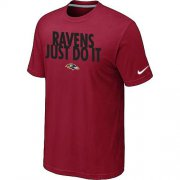 Wholesale Cheap Nike Baltimore Ravens Just Do It Red T-Shirt
