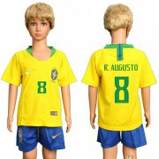 Wholesale Cheap Brazil #8 R.Augusto Home Kid Soccer Country Jersey