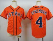 Wholesale Cheap Astros #4 George Springer Orange Cool Base Stitched Youth MLB Jersey