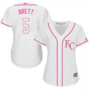 Wholesale Cheap Royals #5 George Brett White/Pink Fashion Women's Stitched MLB Jersey