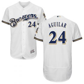 Wholesale Cheap Brewers #24 Jesus Aguilar White Flexbase Authentic Collection Stitched MLB Jersey