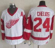 Wholesale Cheap Red Wings #24 Chris Chelios White CCM Throwback Stitched NHL Jersey