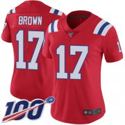 Wholesale Cheap Nike Patriots #17 Antonio Brown Red Alternate Women's Stitched NFL 100th Season Vapor Limited Jersey