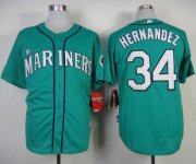Wholesale Cheap Mariners #34 Felix Hernandez Green Alternate Cool Base Stitched MLB Jersey