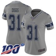 Wholesale Cheap Nike Cowboys #31 Trevon Diggs Gray Women's Stitched NFL Limited Inverted Legend 100th Season Jersey