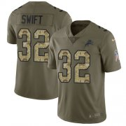 Wholesale Cheap Nike Lions #32 D'Andre Swift Olive/Camo Youth Stitched NFL Limited 2017 Salute To Service Jersey