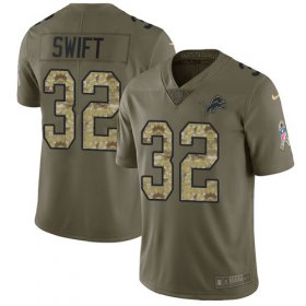 Wholesale Cheap Nike Lions #32 D\'Andre Swift Olive/Camo Youth Stitched NFL Limited 2017 Salute To Service Jersey