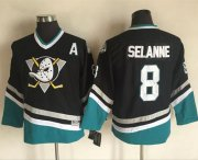 Wholesale Cheap Ducks #8 Teemu Selanne Black CCM Throwback Youth Stitched NHL Jersey