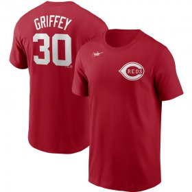 Wholesale Cheap Cincinnati Reds #30 Ken Griffey Jr. Nike Cooperstown Collection Name & Number T-Shirt Red