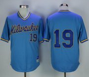 Wholesale Cheap Mitchell and Ness Brewers #19 Robin Yount Stitched Blue Throwback MLB Jersey