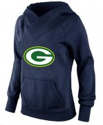 Wholesale Cheap Women's Green Bay Packers Logo Pullover Hoodie Navy Blue