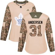Wholesale Cheap Adidas Maple Leafs #31 Frederik Andersen Camo Authentic 2017 Veterans Day Women's Stitched NHL Jersey
