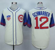Wholesale Cheap Cubs #12 Kyle Schwarber Cream/Blue 1942 Turn Back The Clock Stitched MLB Jersey
