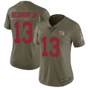 Wholesale Cheap Nike Giants #13 Odell Beckham Jr Olive Women's Stitched NFL Limited 2017 Salute to Service Jersey