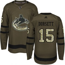 Wholesale Cheap Adidas Canucks #15 Derek Dorsett Green Salute to Service Youth Stitched NHL Jersey