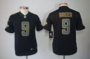 Wholesale Cheap Nike Saints #9 Drew Brees Black Impact Youth Stitched NFL Limited Jersey