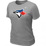 Wholesale Cheap Women's Nike Toronto Blue Jays Authentic Logo T-Shirt Light Grey