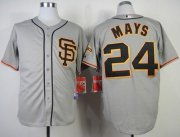 Wholesale Cheap Giants #24 Willie Mays Grey Cool Base Road 2 Stitched MLB Jersey
