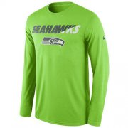 Wholesale Cheap Men's Seattle Seahawks Nike Neon Green Legend Staff Practice Long Sleeves Performance T-Shirt