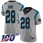 Wholesale Cheap Nike Panthers #28 Mike Davis Silver Men's Stitched NFL Limited Inverted Legend 100th Season Jersey