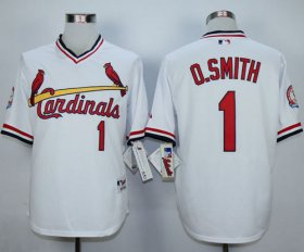 Wholesale Cheap Cardinals #1 Ozzie Smith White 1982 Turn Back The Clock Stitched MLB Jersey
