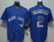 Wholesale Cheap Blue Jays #2 Troy Tulowitzki Blue USA Flag Fashion Stitched MLB Jersey