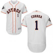 Wholesale Cheap Astros #1 Carlos Correa White Flexbase Authentic Collection 2019 World Series Bound Stitched MLB Jersey