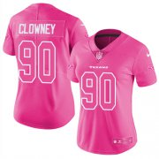 Wholesale Cheap Nike Texans #90 Jadeveon Clowney Pink Women's Stitched NFL Limited Rush Fashion Jersey