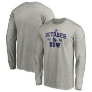Wholesale Cheap Los Angeles Dodgers Majestic 2019 Postseason ACE Long Sleeve T-Shirt Heather Gray