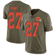 Wholesale Cheap Nike Browns #27 Kareem Hunt Olive Men's Stitched NFL Limited 2017 Salute To Service Jersey