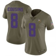 Wholesale Cheap Nike Vikings #8 Kirk Cousins Olive Women's Stitched NFL Limited 2017 Salute to Service Jersey